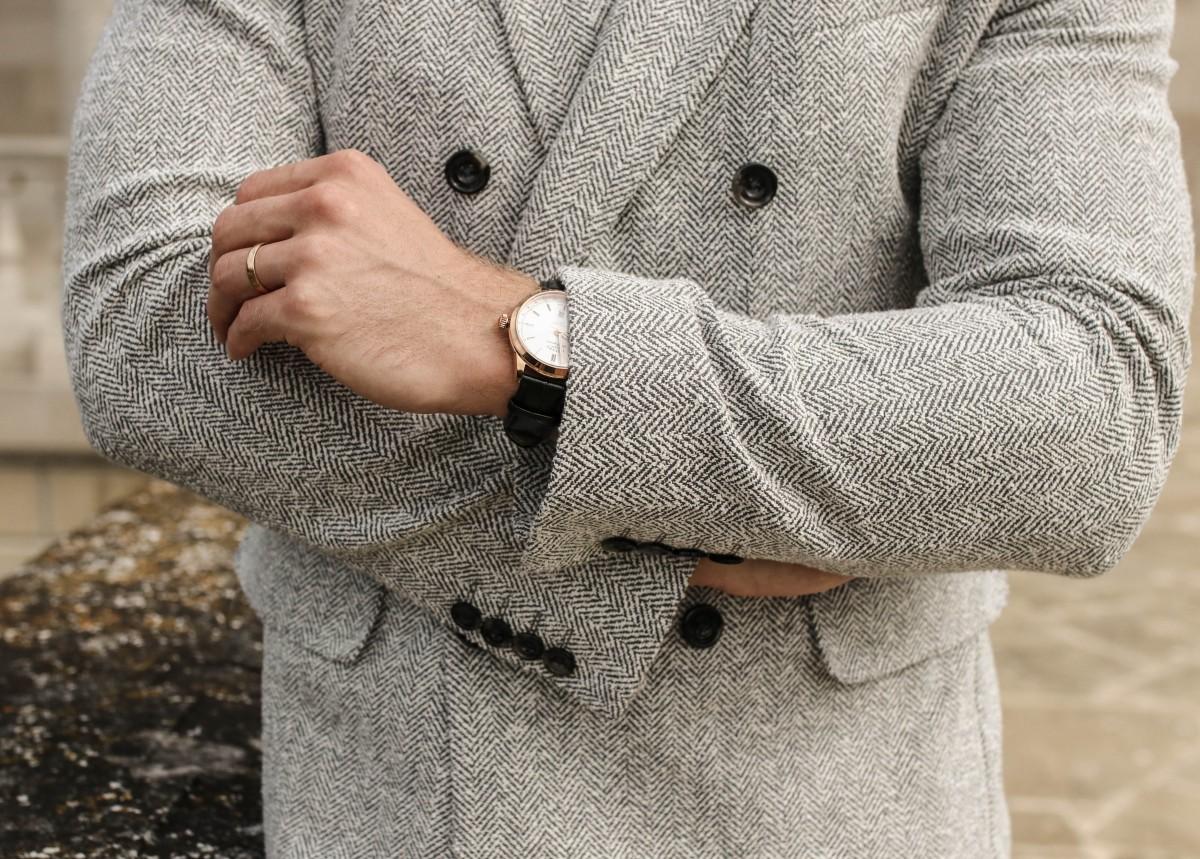 Hardy Amies Mens Grey Herringbone Blazer