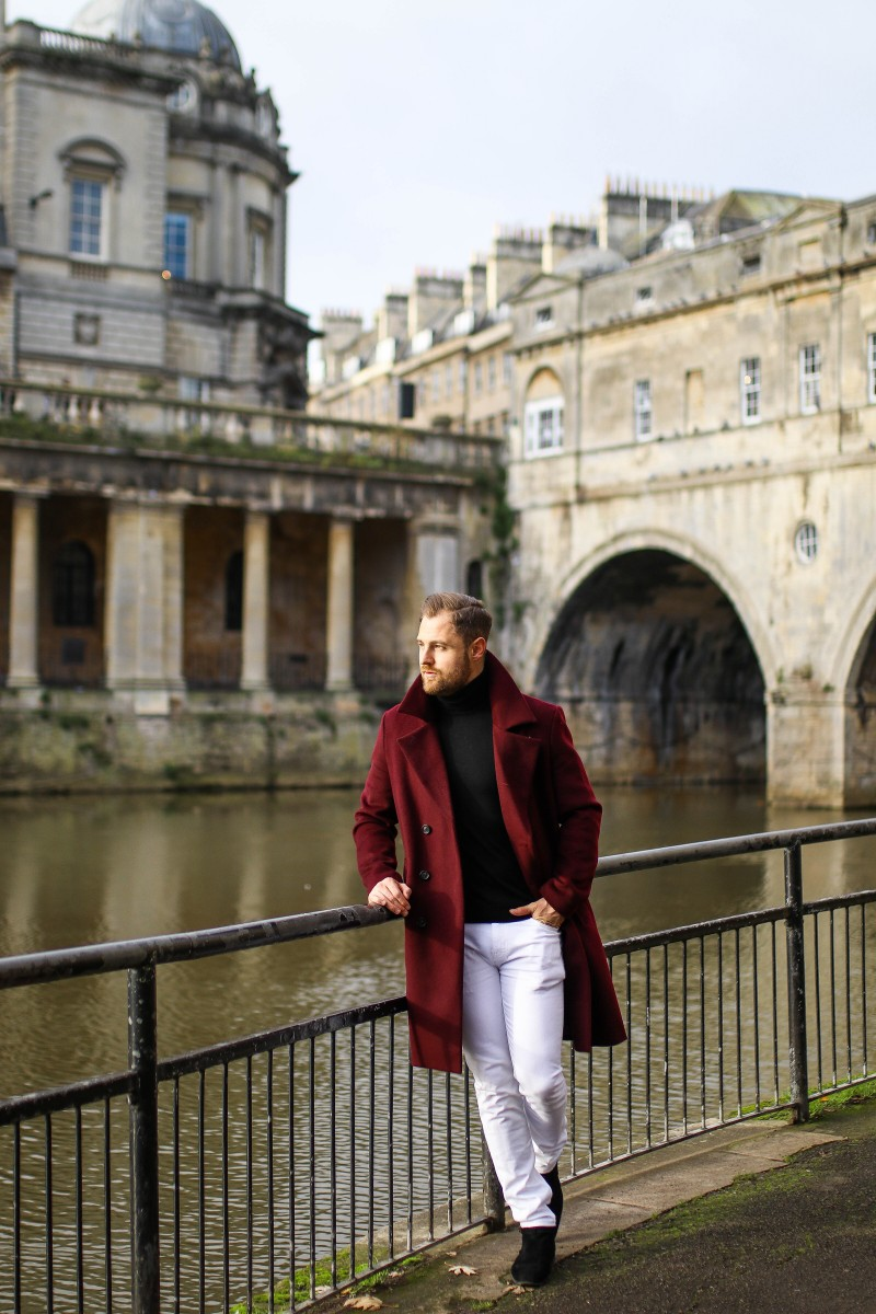 Topman Burgundy Mens Coat