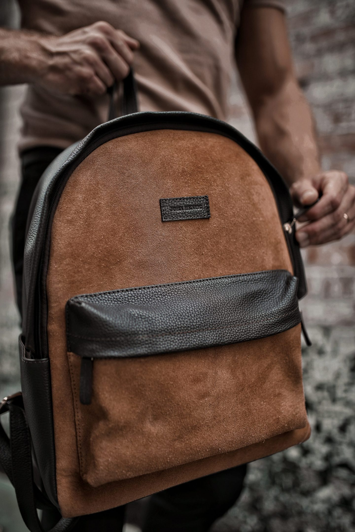 John Henric Camel Polo Suede Backpack